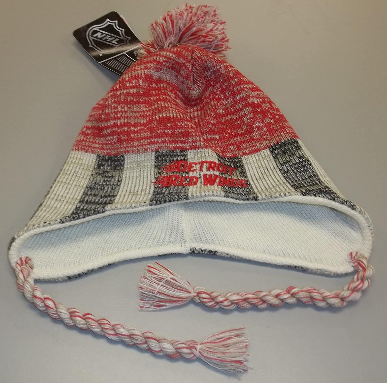 Reebok Detroit Red Wings Knit Hat with Braids & Pom KE74Z