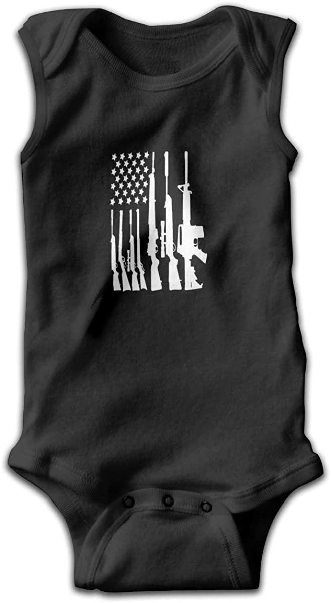 EASON-G American Flag Gun Unisex Baby Bodysuit Infant Cotton Outfits Rompers