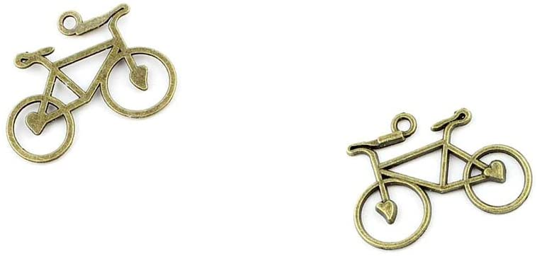 Qty 150 Pieces B79158 Heart Bicycle Bike Ancient Antique Bronze Jewelry Making Charms Findings Bulk Retro Accessoires Lots Vintage for Bracelet Necklace