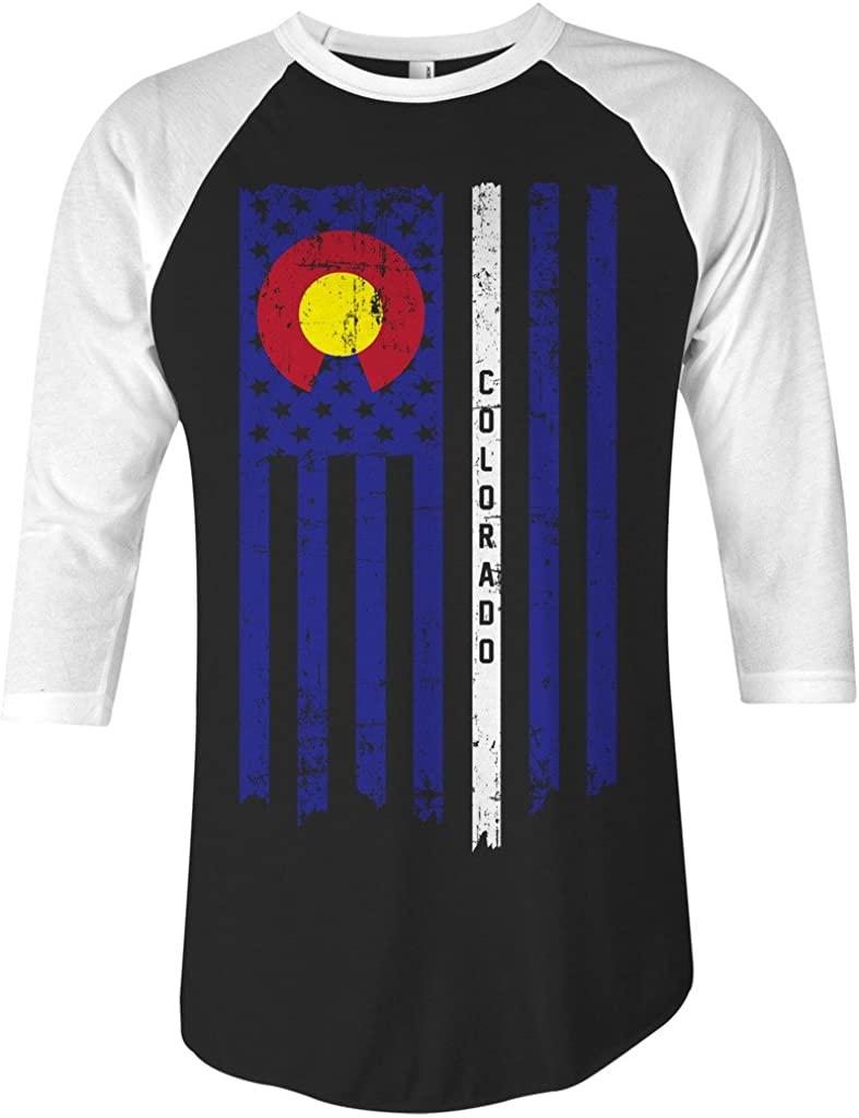 Threadrock Colorado State American Flag Unisex Raglan T-Shirt