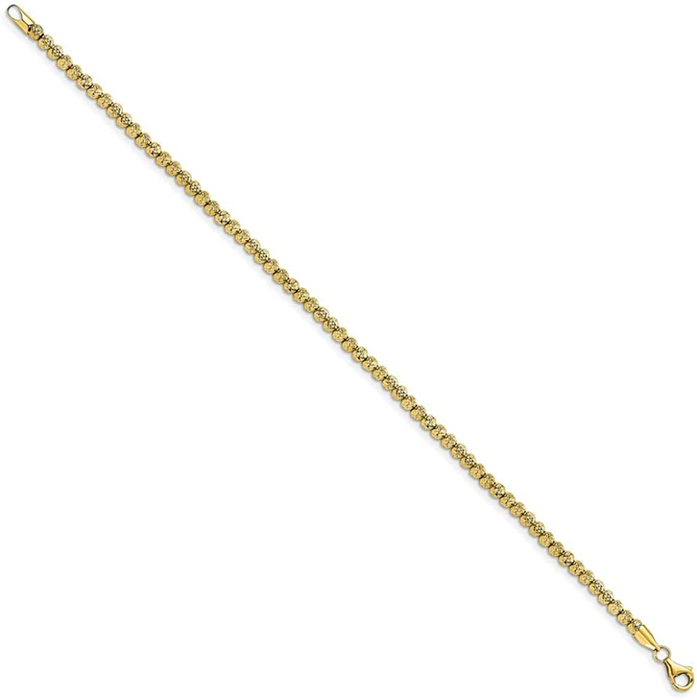 Solid 10k Yellow Gold Unique Link Diamond-Cut Beaded Bracelet - with Secure Lobster Lock Clasp 7.5