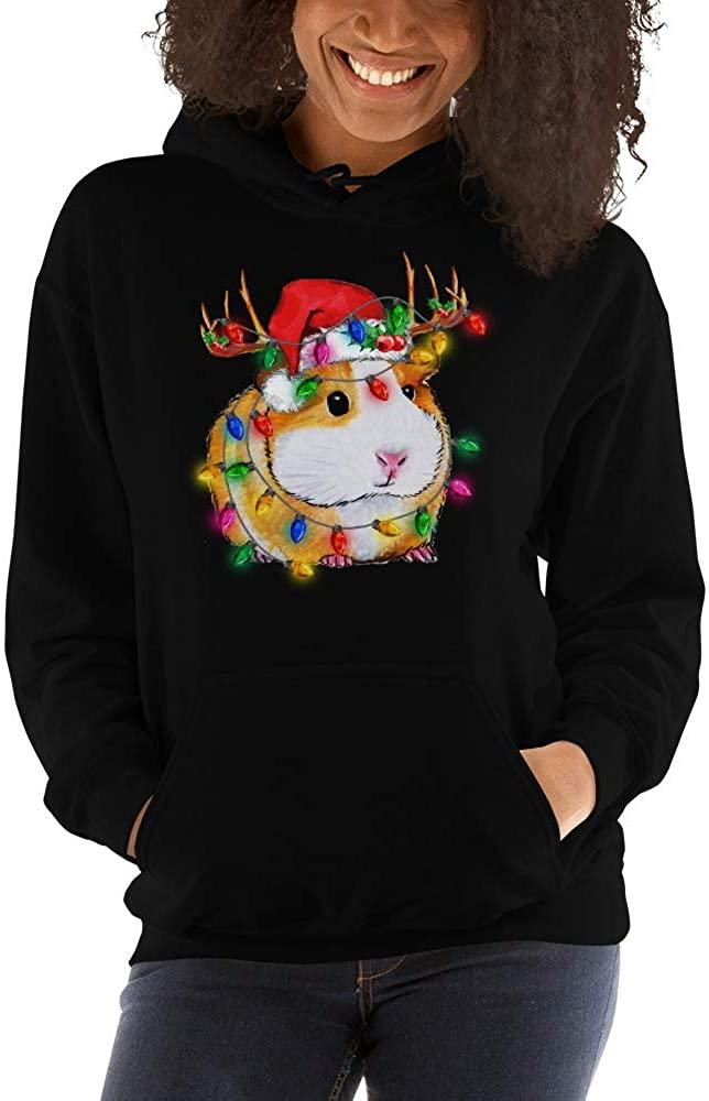 Cute Guinea Pig Santa Hat Reindeer Unisex Hoodie