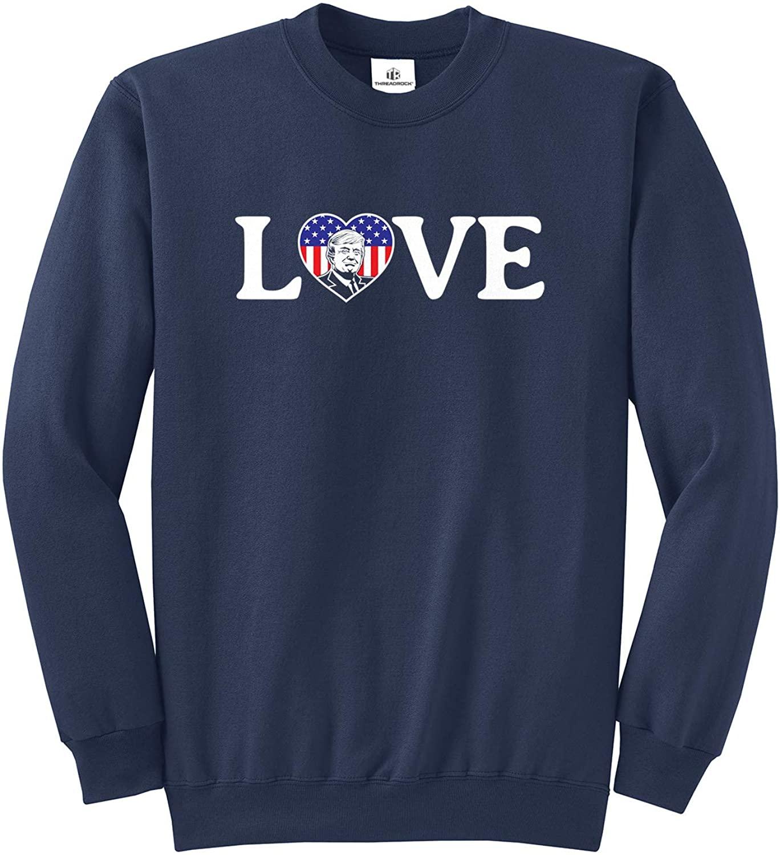 Threadrock Love Trump American Flag Heart (Horizontal Love) Unisex Sweatshirt - Medium, Navy