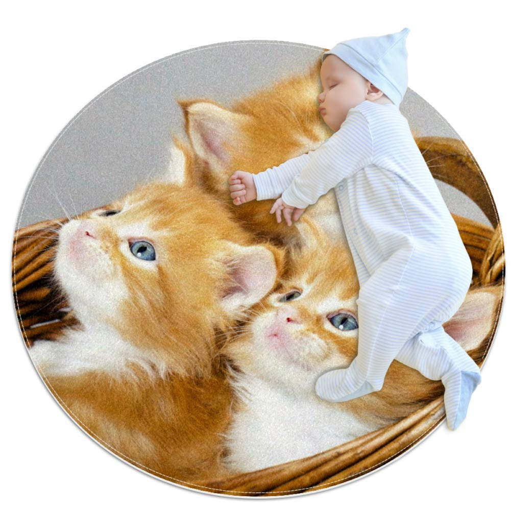 Kitten in The Basket Nursery Round Rug for Kids Room Soft and Smooth Suede Surface Non-Slip Castle Tent Game Mat Best Gift for Your Kids 3feet 4inch