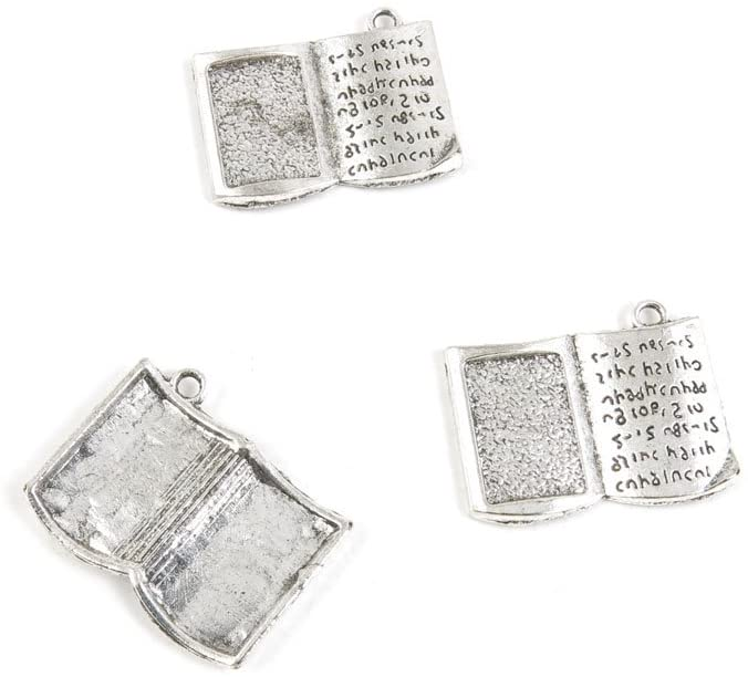10 x Antique Silver Tone Jewelry Making Charms Findings Handmade Necklace Bracelet Bulk Lots Supplier Supply Crafting V9FW7 Bible Book