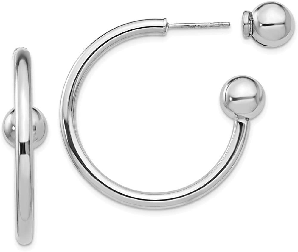 Leslies Sterling Silver Polished Fancy Post Hoop Earrings QLE1235