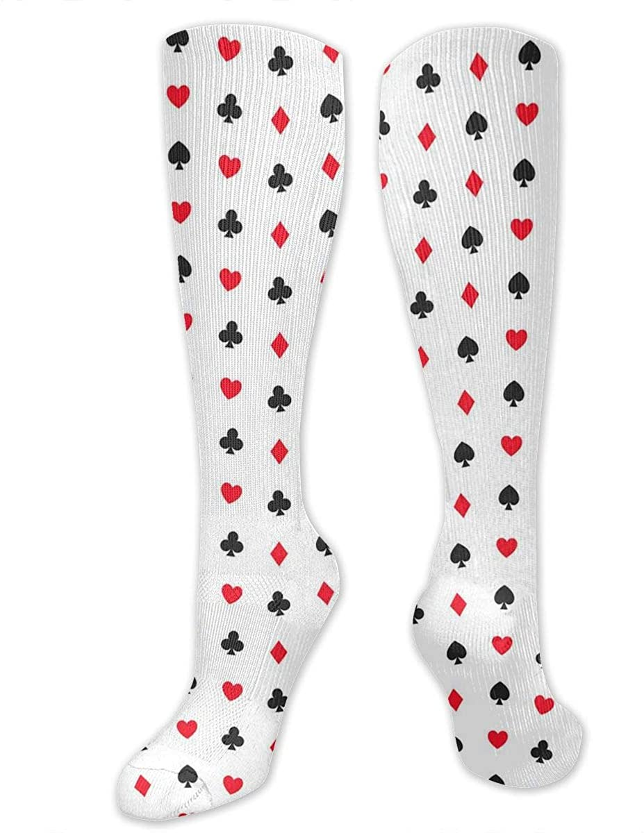 Men Women Knee High Socks Pattern Of Card Suits Boot Crew Hose Thigh Stockings