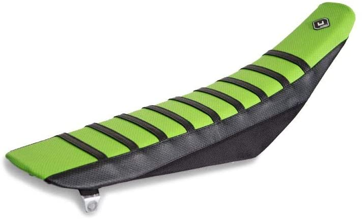 FLU Designs Pro Rib Seat Cover (Black/Green/Black) for 09-12 Kawasaki KX250F