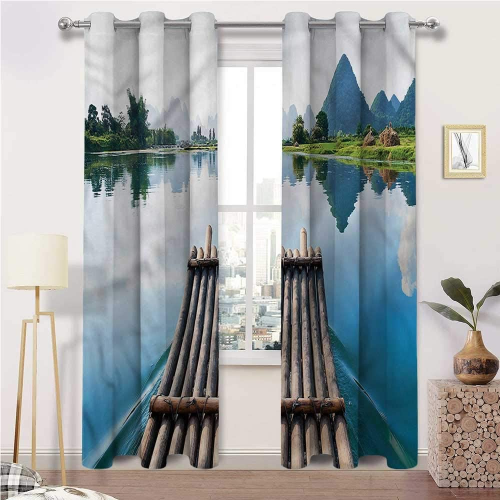 Interestlee Patio Curtains Bamboo Grommet Drapes for Living/Bedroom Patio Door Landscape Bamboos River Set of 2 Panels, 108 Width x 84 Length