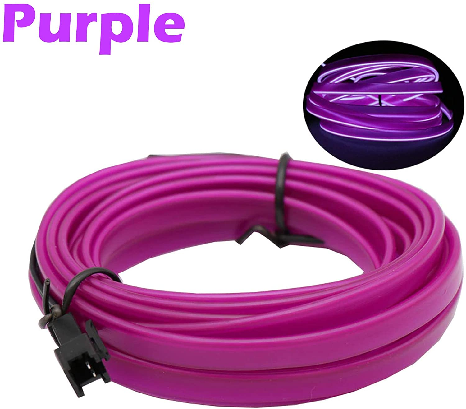 1-Pack 20m/65.6ft Purple Neon LED Light Glow EL Wire - 2.3 mm Thick - EL Wire ONLY - Craft Neon Wire String Light for DIY Project Costume Accessories Cosplay