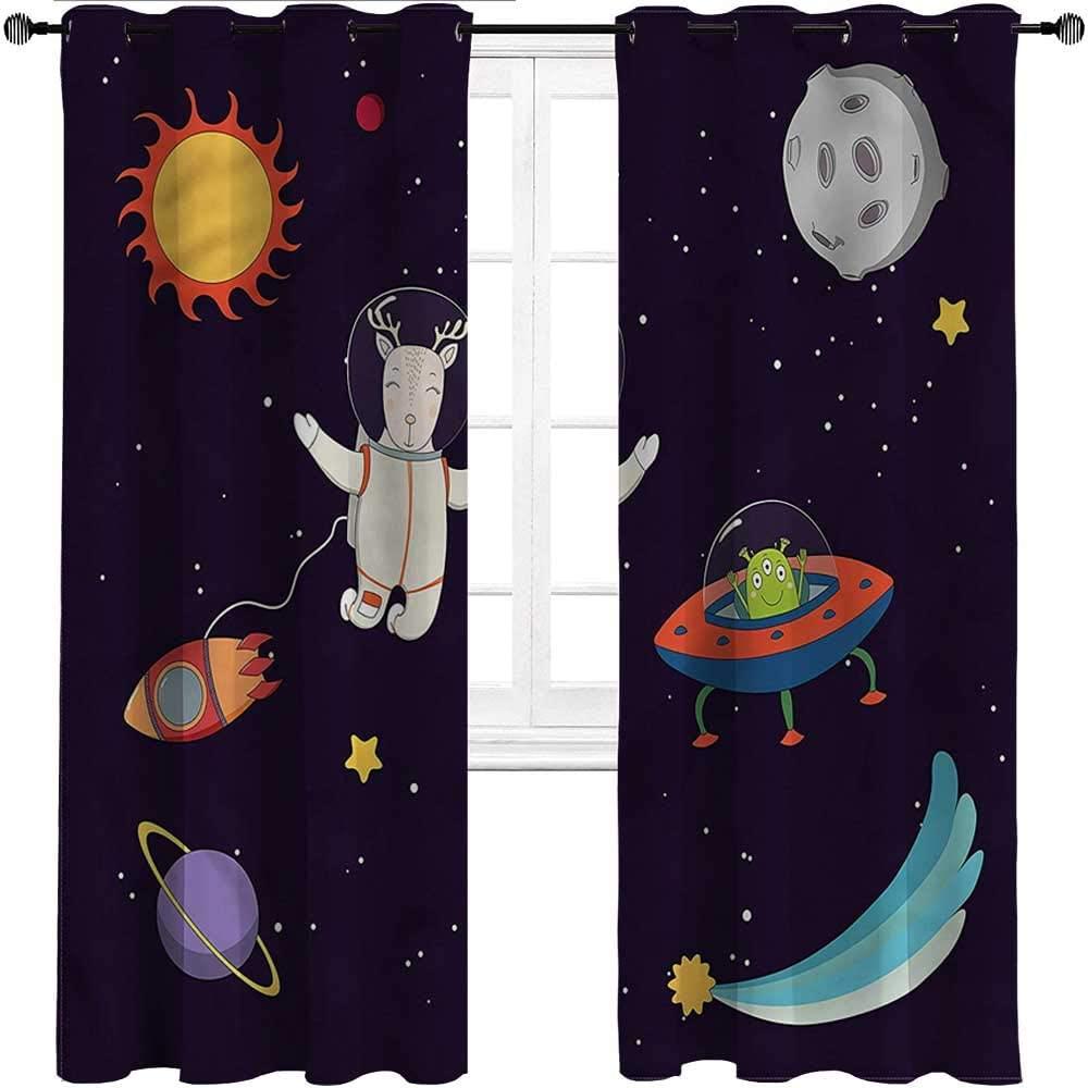 GugeABC Outdoor Curtains Explore Grommet Drapes for Living/Bedroom Patio Door Astronaut Deer in Space,Set of 2 Panels, 55 Width x 45 Length