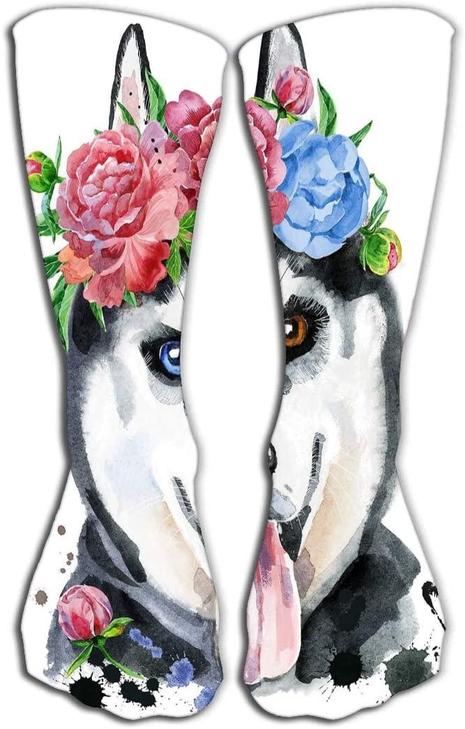 YILINGER Print Knee High Socks Athletic Over-The-Calf Tube 19.7(50cm) Watercolor Portrait Husky Wreath Flowers Cute Dog