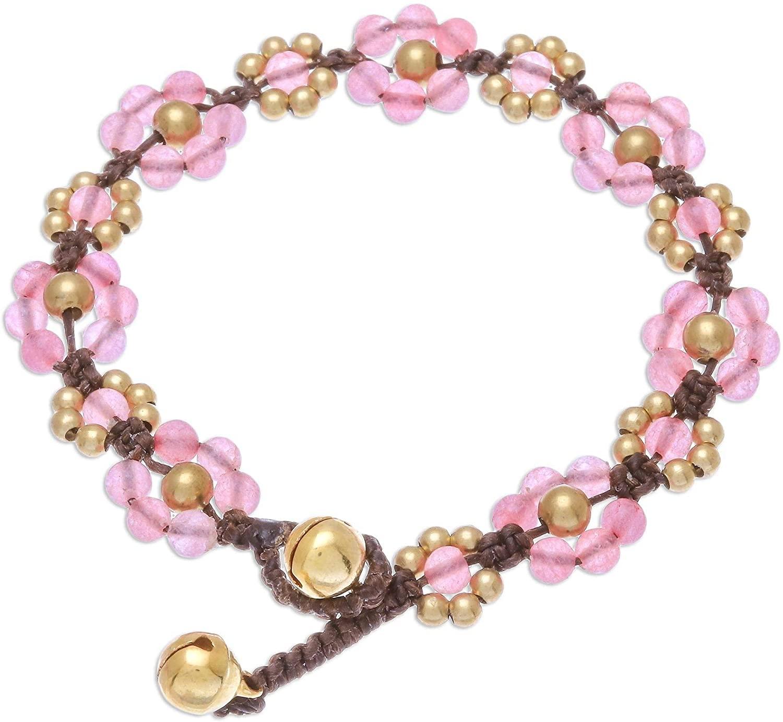 NOVICA Quartz Brass Beaded Bracelet 'Blooming with Love'