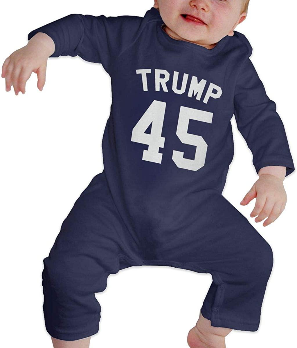 Sherrygeoffrey Trump 45 Jersey Baby Bodysuit Jumpsuit Long Sleeve Infant Navy