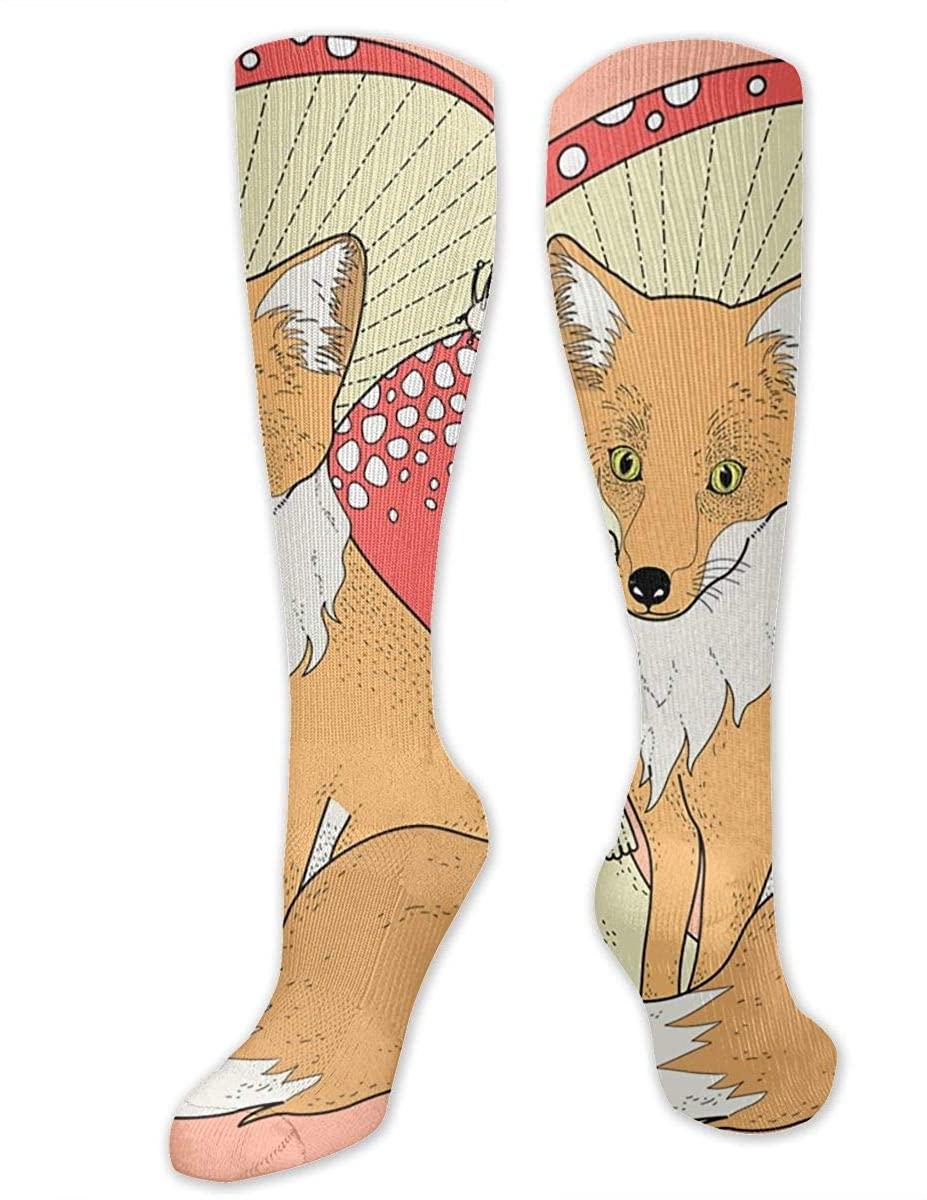 Men Women Knee High Socks Fox Frog Mushroom Snail Crew Long Hose Tube Stockings