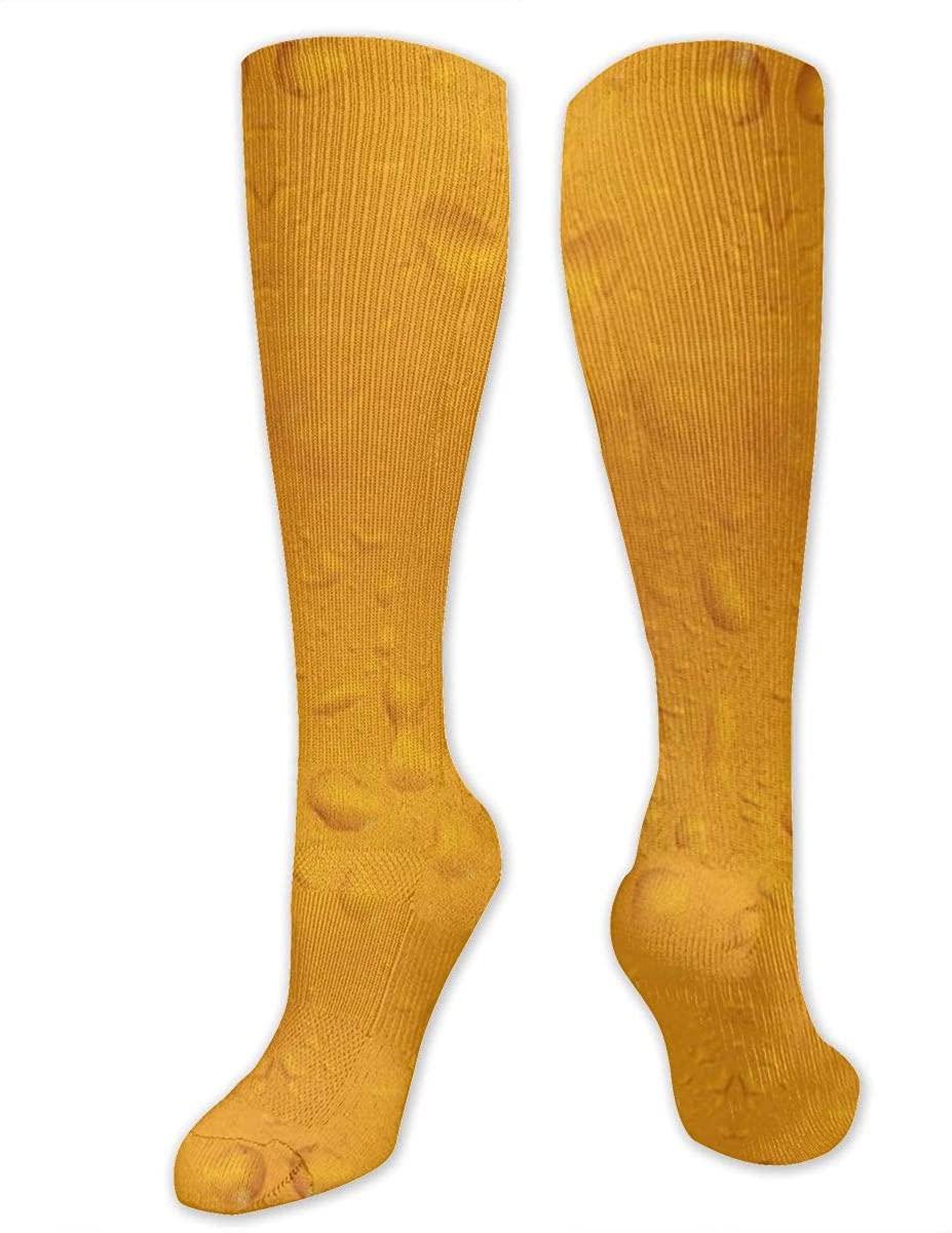 Knee High Socks For Men Women Summer Cold Beer Print Running Hose Stockings