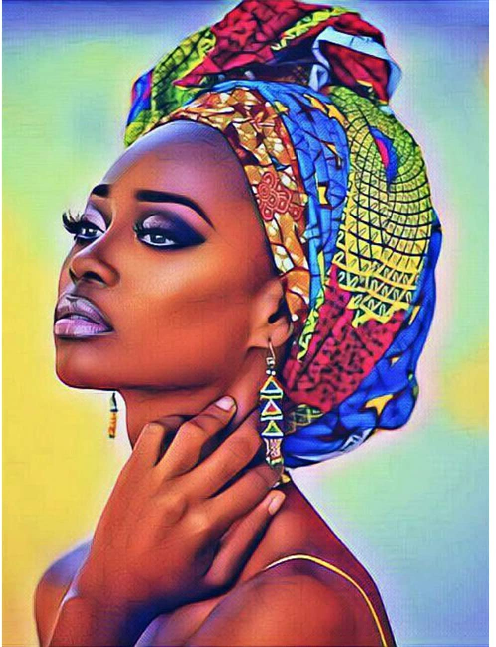 5D Diamond Painting Purple African Woman Full Drill by Number Kits, SKRYUIE DIY Rhinestone Pasted Paint with Diamond Set Arts Craft Decorations (12x16inch)