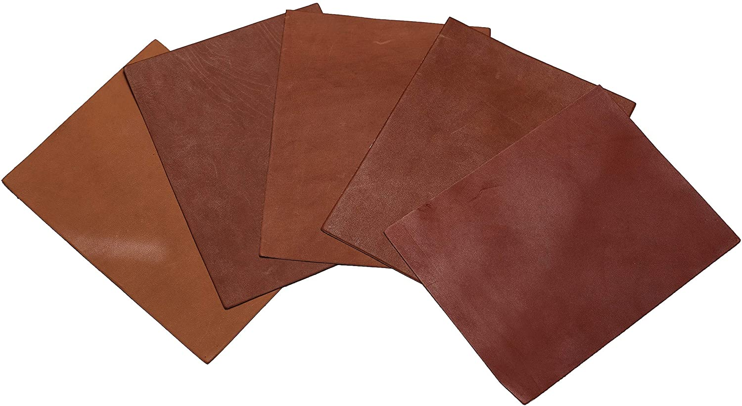 Leather Pieces 5 Rectangle Sheets of Cognac/Tan for Crafts (9x7) (Cognac)