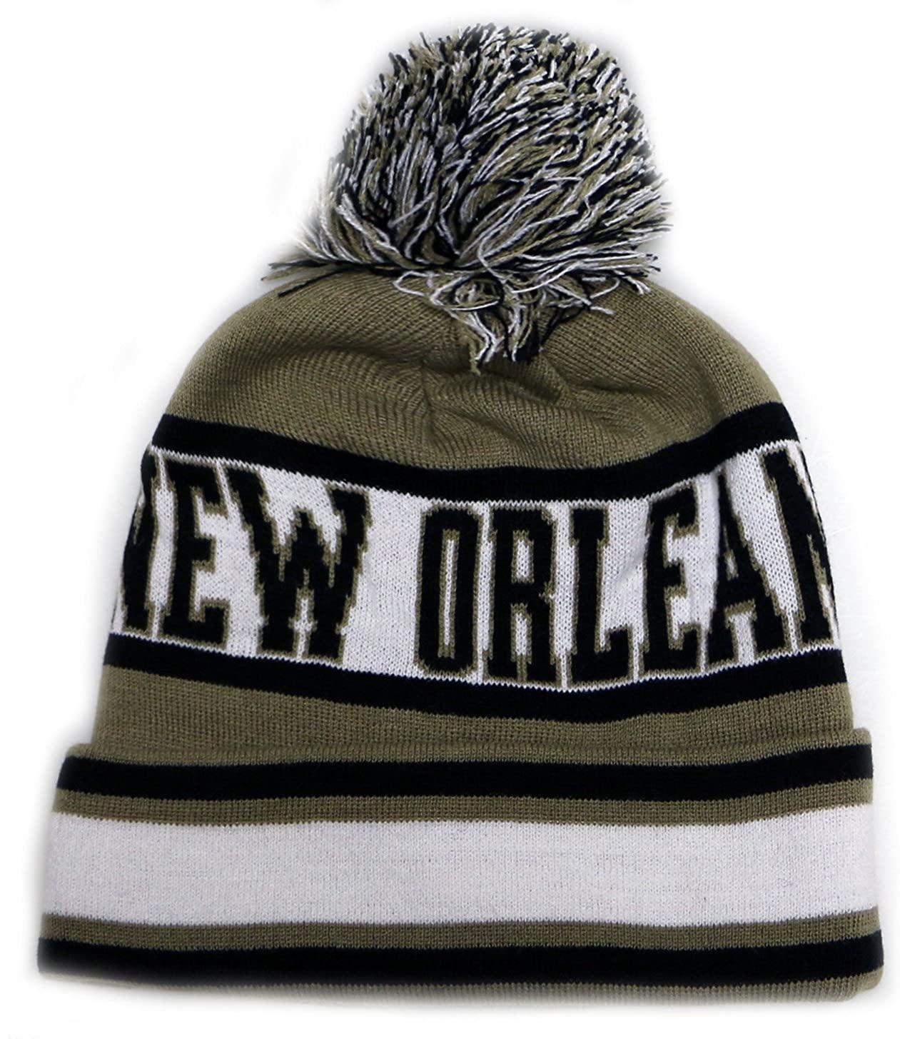 City Hunter Sk1130 New Orleans Stripes Pom Pom Beanie Hats - Khaki/black