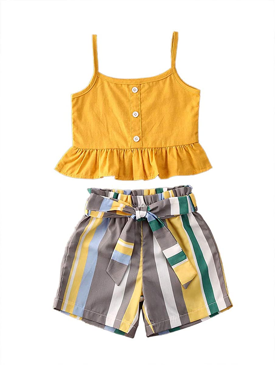 Summer 2pcs Clothes Set Baby Girl Clothes Crop Top T-Shirt+Print Pants Kid Girls Sleeveless Outfits