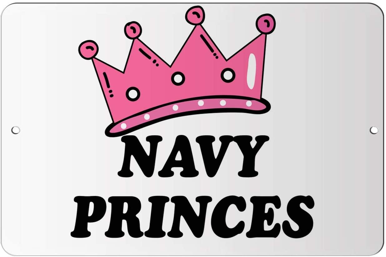 Makoroni - Navy Princes Princess Design 12x18 inc Aluminum Decorative Wall Street Sign
