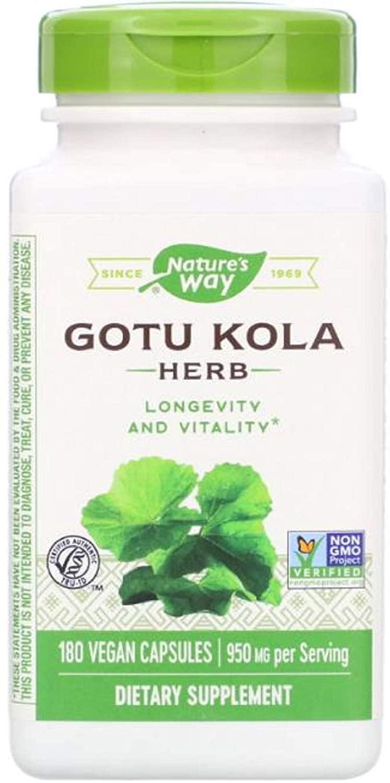Gotu Kola Supports Brain Health Non GMO 950 mg 180 Vegan Capsules