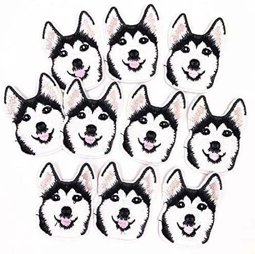 10PCS Husky Dog Iron On Sewing On Embroidered Applique Patch for Jacket Clothes Stickers DIY Apparel Accessories Fashion patches
