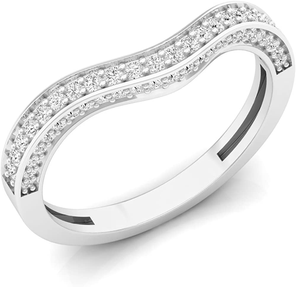 0.35 Carat (ctw) 14K Gold Round Cut White Diamond Ladies Stackable Wedding Contour Band Guard Ring
