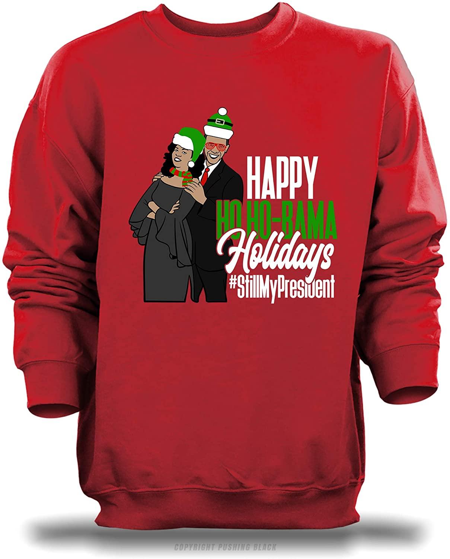 'Mr and Mrs Ho-Bama - Happy Holidays - #StillMyPresident Unisex Sweatshirt (Red (Gildan), Medium)