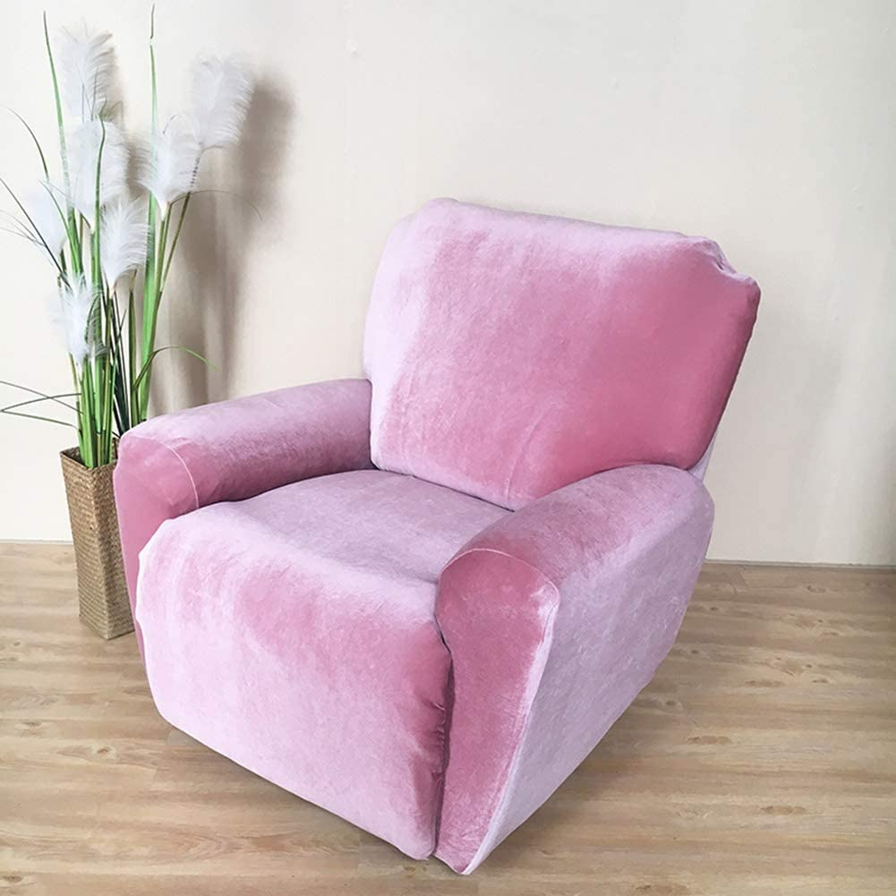 HOMRanger Thicken Velvet Sofa Cover,Solid Color All-Including Sofa Slipcover Sustainable No-Slip Furniture Protector for Chivas Couch Pink Chair