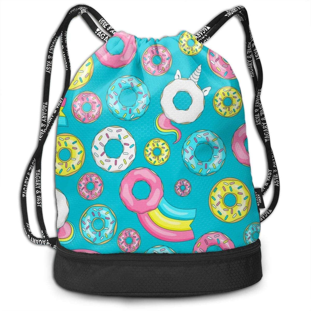 Bundle Backpacks Donut Unicorn with White Glaze Gym Sack Drawstring Bags Casual Daypack Yoga Bag School Training Pouch