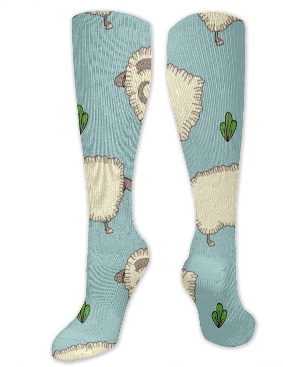 Men Women Knee High Socks Goat Sheep Cartoon Animal Crew Hose Thigh Stockings