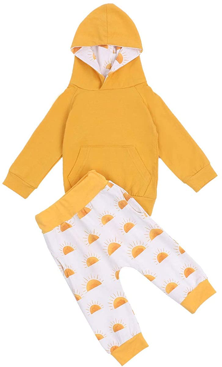 Toddler Baby Girls Boys 2Pc Hoodie Sweatersuit Outfit Set Hooded Shirts Top and Pants Cute Fall Winter Clothes