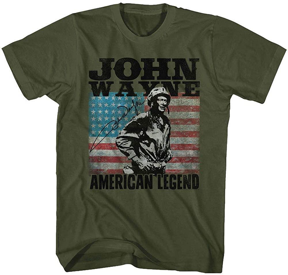 John Wayne American Legend Hollywood Icon Actor USA Flag Adult T-Shirt Tee