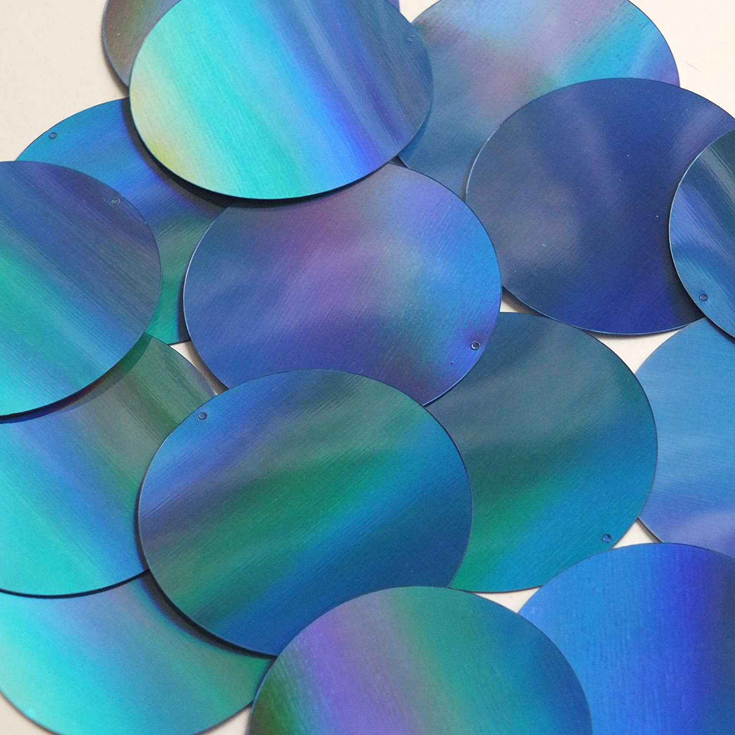 Round Flat Sequin 50mm Light Blue Lazersheen Rainbow Reflective Metallic. Couture Paillettes. Made i