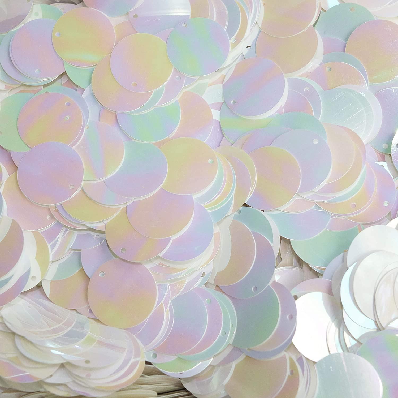20mm Sequins Round White Iris Rainbow Shiny Opaque Medium Top Hole Made in USA