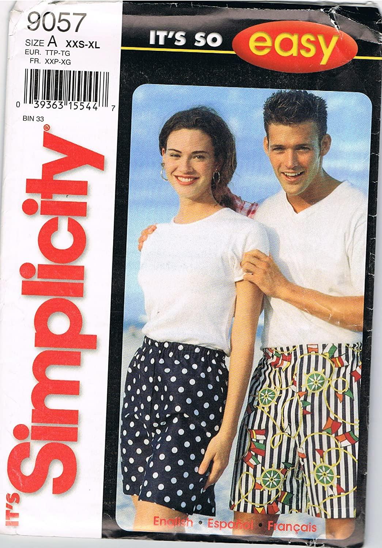 Simplicity Pattern 9057 Misses, Mens, Teen-Boys and Girls Shorts, Size A (XXS-XL)