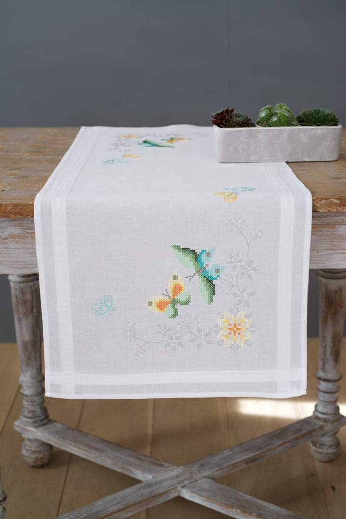 Vervaco Flowers and Butterflies Runner Cross Stitch Kit, Multi-Colour