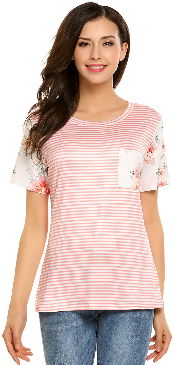 EASTHER Women Short Sleeve Floral Striped Loose Pullover Shirt Tunic Top Blouse