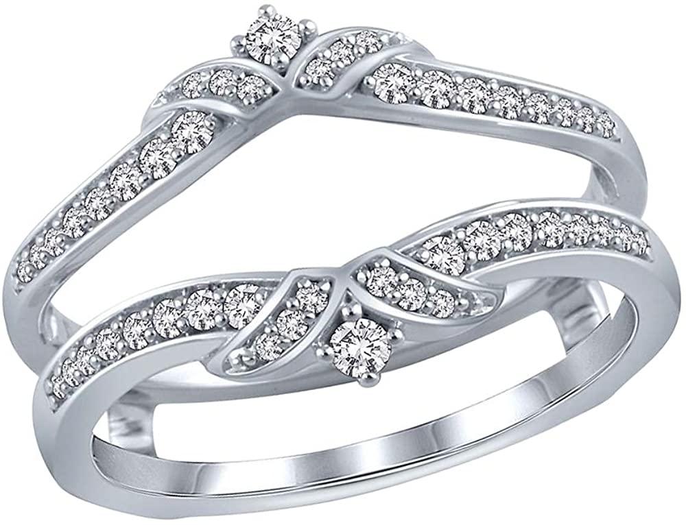 0.25 Ct Round Cut Lab Grown Diamond Solid 10K White Gold Enhancer Wrap Wedding Band Ring