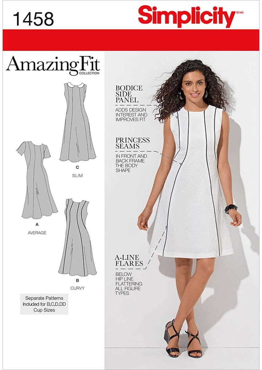 Simplicity 1458 Women's Dress Sewing Patterns, Sizes 20W-28W