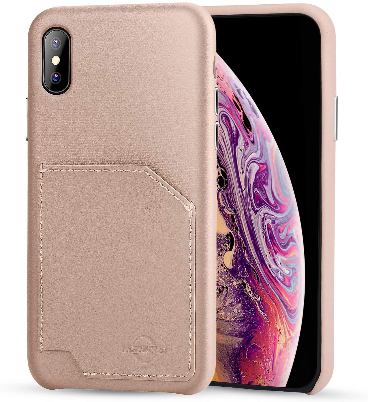 iPhone X/XS Wallet Case, HONSCUD RFID Blocking Premium Genuine Leather Case with Card Holder iPhone X/XS Case Shockproof Folio Flip Protective Cover for Apple iPhone X/XS (5.8 Inch) (Creamy-White)