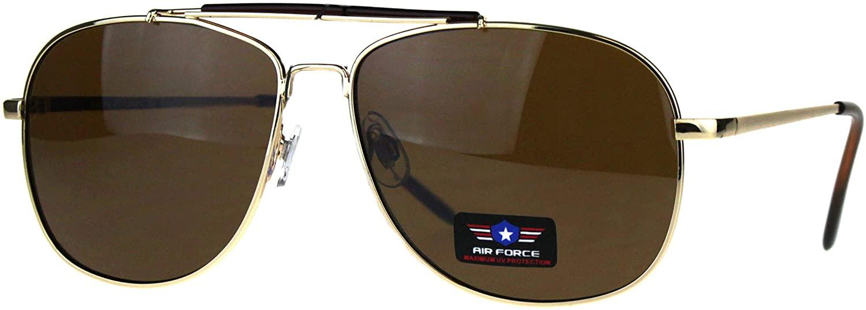 Air Force Sunglasses Vintage Square Aviator Metal Frame UV 400