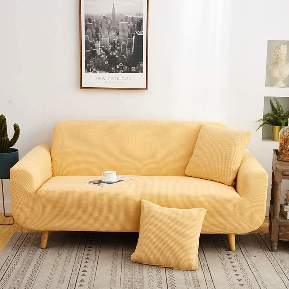 HOMRanger Solid Color High Stretch Sofa Cover,Soft Non-Slip All-Including Sofa Slipcover Tight Wrap Durable Furniture Protector Couch Cover-Yellow Three Seats