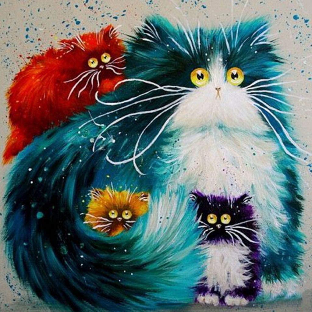 Ukerdo Diamond Arts Craft Multicolor Cat Handmade DIY Painting Full Drill Embroidery Animal Bedroom Wall Decoration Picture