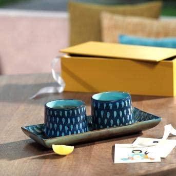 RANG RESHA dialogue tea cups & platter (2 cups & 1 platter) + engineered wooden box