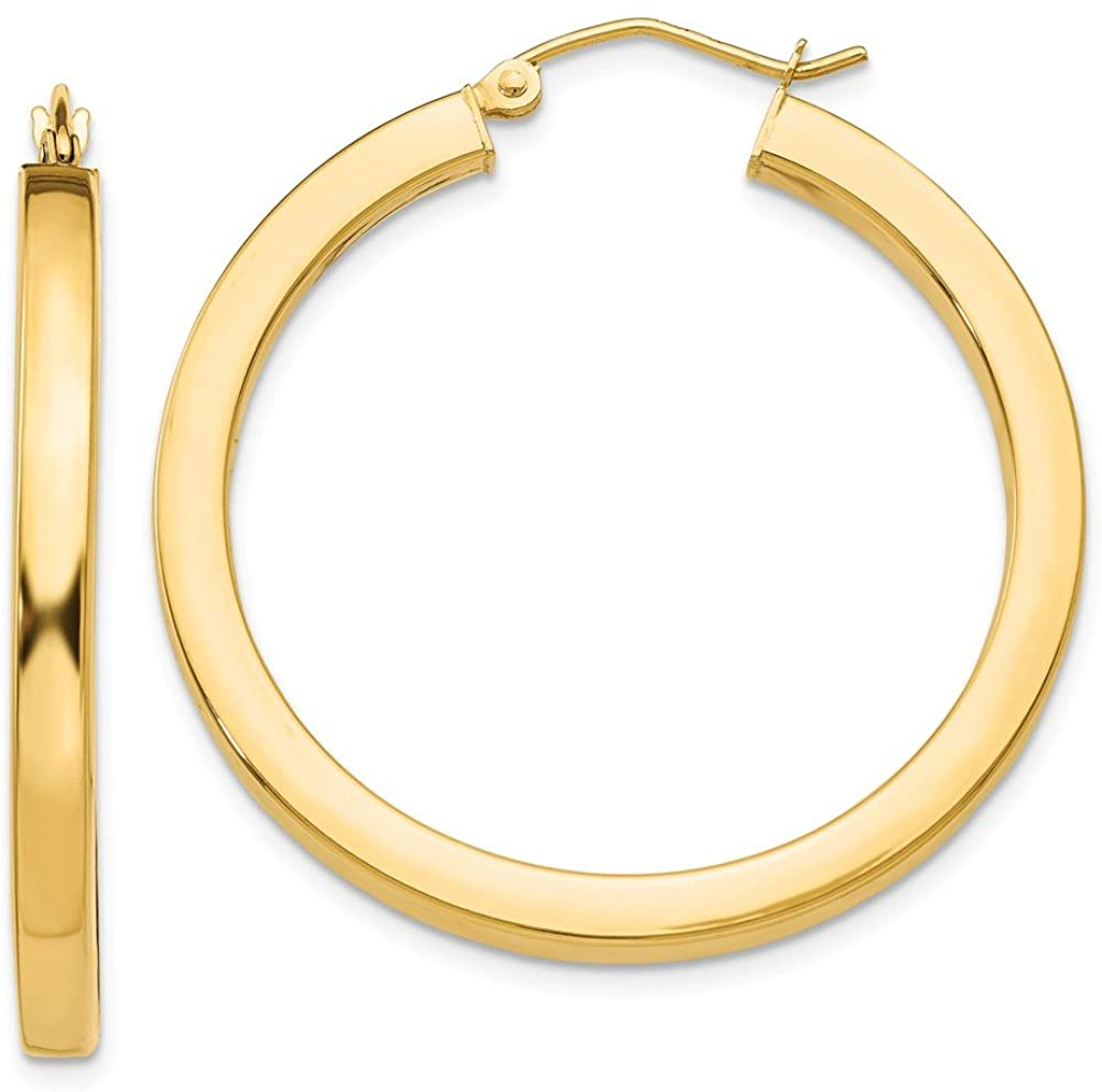 14K Yellow Gold 3mm Polished Square Hoop Earrings TE539