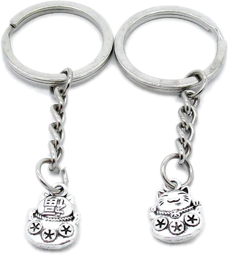 100 Pieces Keychain Keyring Door Car Key Chain Ring Tag Wholesale Supplier Clasps R1MB8K Lucky Cat