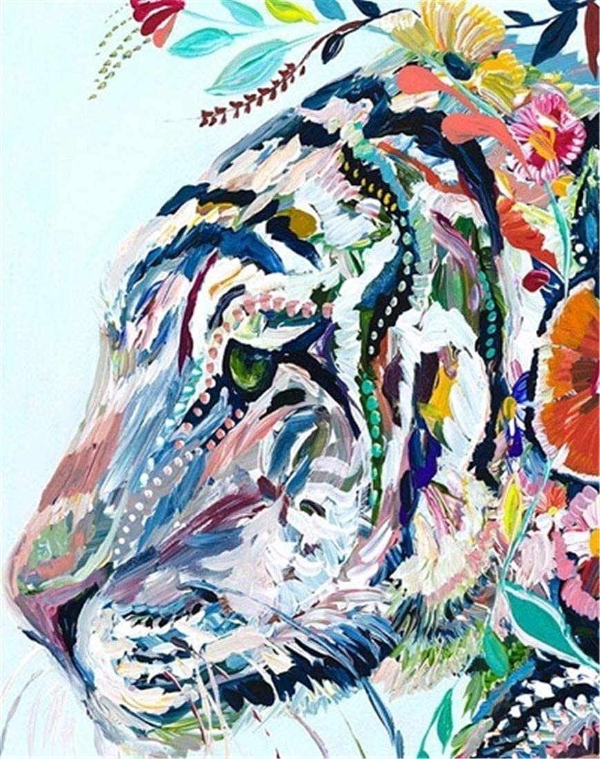 New Paint by Numbers DIY Oil Painting by Numbers Kit for Adults Kids Beginner 16 X 20 Inch - Colored Tiger (No Frame)
