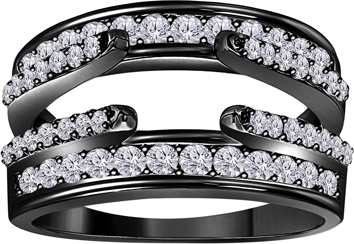 Gems and Jewels 14K Black Gold Finish Combination Curved Style Cathedral Wedding Ring Guard Enhancer with Cubic Zirconia 1.00 Ct